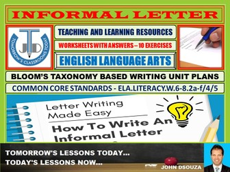 INFORMAL LETTER: 10 WORKSHEETS WITH ANSWERS