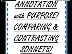 Annotation Challenge - Comparing and Contrasting Sonnets! Grade 6 and UP