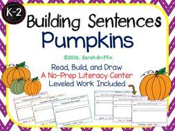 Pumpkins Writing Center: Building Sentences for 10 pumpkin facts