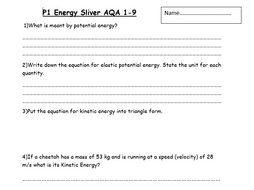 Gold and Sliver P1 & P2 revision booklets AQA 9-1