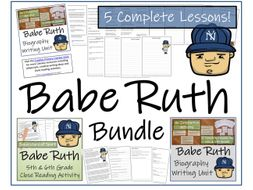 UKS2 History - Babe Ruth Reading Comprehension & Biography Bundle