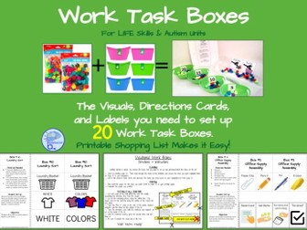 Simple DIY Work Task Boxes- 20 Activities with Visuals & Directions!