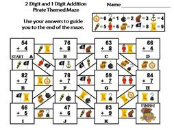 Two Digit and One Digit Addition Game: Pirate Themed Math Maze