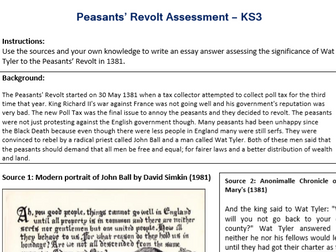 Peasants' Revolt (Wat Tyler) Assessment