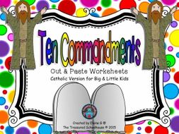 Ten Commandments Cut & Paste Worksheets for Kids - Catholic