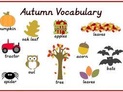Autumn Vocabulary Topic Words Mat