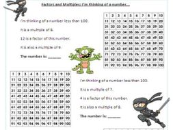 Year   Factors And Multiples  Differentiated Worksheets By  Worksheet