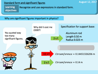 Standard form, significant figure, rounding