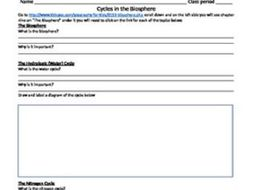 Cycles in the biosphere & hydrosphere, webquest