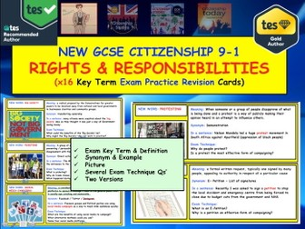 GCSE Citizenship Revision: Key term Exam Practice Cards: Rights and responsibilities legal political