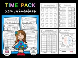 Time Pack   (telling the time - analogue & digital) (UK version) - 20+ printables