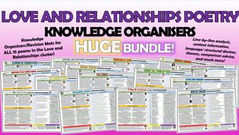 Love and Relationships Poetry Knowledge Organisers Huge Bundle!