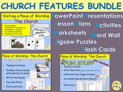Visiting A Church - Features and Objects PowerPoint Lesson Plans Worksheets Activities Flash Cards Word Wall Cards Jigsaw Puzzles BUNDLE