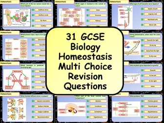 £1 ONLY! KS4 AQA GCSE Biology (Science) Homeostasis Multiple Choice Revision Questions