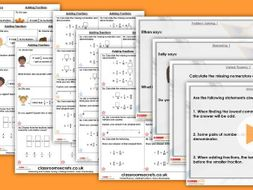 Year 6 Adding Fractions Autumn Block 3 Step 7 Maths Lesson Pack