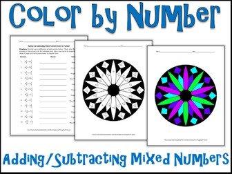 Adding/Subtracting Mixed Numbers Color by Number