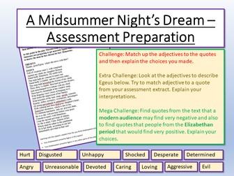 A Midsummer Night's Dream - Assessment Preparation