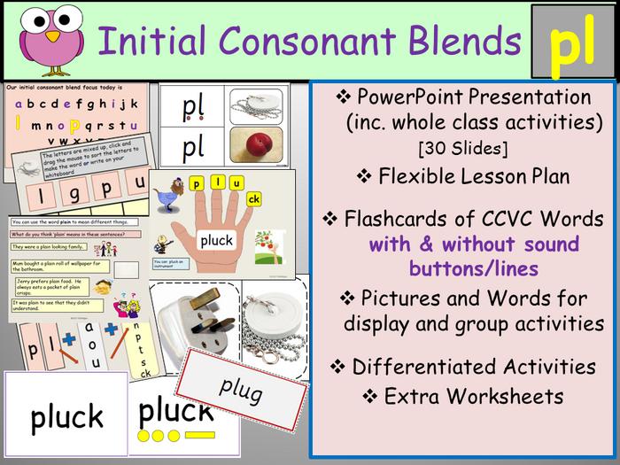 Phonics - Initial Consonant Blends Pl-CCVC Words, Presentation ...