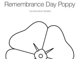 Remembrance Day Poppy Template & Word Search