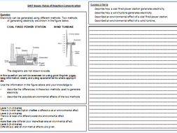 Year 8 Physics Energy Resources DIRT exam question worksheet by ...