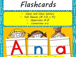 large letter flash cards a to z with handwriting lines by nicadez