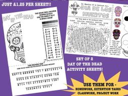 Halloween/Day of the Dead Activity Worksheets - set of 2
