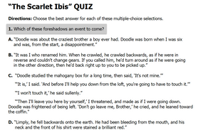 """""""The Scarlet Ibis"""" Multiple Choice Quiz 