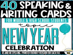 New Year's | ESL/ELL/ELA Speaking and Writing Activities | For Teens | BUNDLE