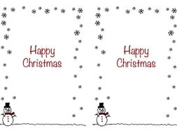 christmas card insert snowman design a5 2 up on a page