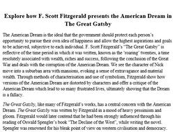 The Great Gatsby - American Dream Essay
