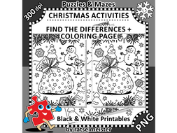 christmas activities santas sack find the differences and colouring page
