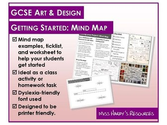Gcse Art Design Exam Guide Mind Maps Examples And Worksheet Teaching Resources