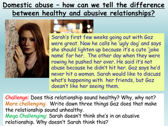 Relationships: domestic violence + abuse RSE