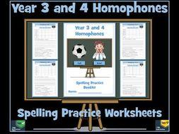 Homophones: Year 3 and 4  Spelling Worksheets