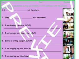 Present Continuous Tense 3 Photo Worksheet Set