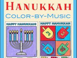 Hanukkah Colour-By-Music Note Worksheet