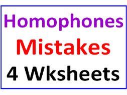 Homophones Mistakes (4 worksheets)