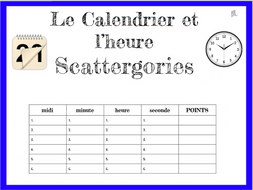 French Calendar And Time Scattergories Game Le Calendrier Et L