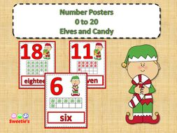 Number Posters 0 to 20 with Ten Frames - Elves - English and Spanish