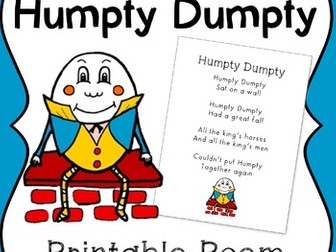 FREE Humpty Dumpty Printable Poem for Poetry Journals & Sight Word Practice