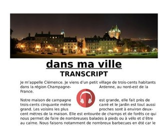 Ma Ville (Town) - French Revision Listening MP3 and Transcript