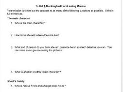 To Kill A Mockingbird Introductory Lesson - Fact-Finding Mission