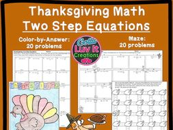 Solving Equations Thanksgiving Turkey Math - Two Step Equations Maze & Color by Number Bundle