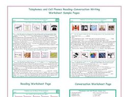 Telephones-Cell Phones Reading-Conversation-Writing Worksheets