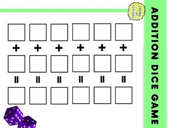 Addition Dice Game: Years 1 and 2