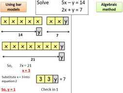 Solving simultaneous equations mastery style using bar models L2