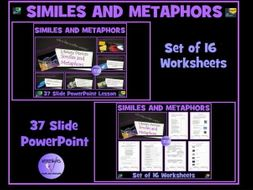 Similes and Metaphors: PowerPoint Lesson and 16 Worksheets