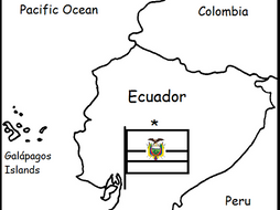 ECUADOR - Printable handout with map and flag
