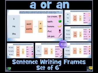 'a' or 'an' Sentence Writing Frames