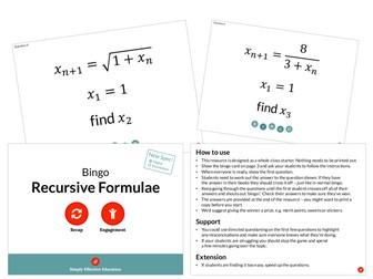 Recursive Formulae (Bingo)